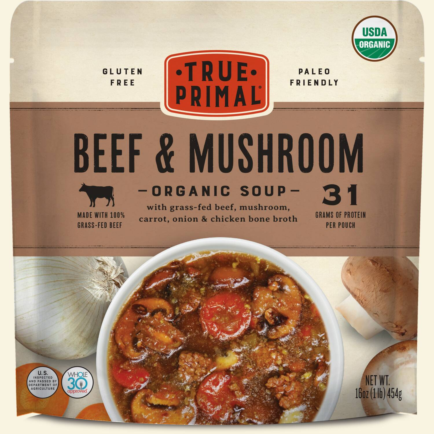 True Primal Beef and Mushroom Organic Soup in pouch, front