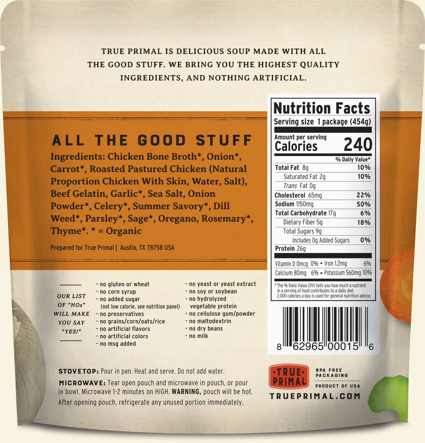 True Primal Roasted Chicken Soup in pouch, back of label. UPC: 862965000156.
