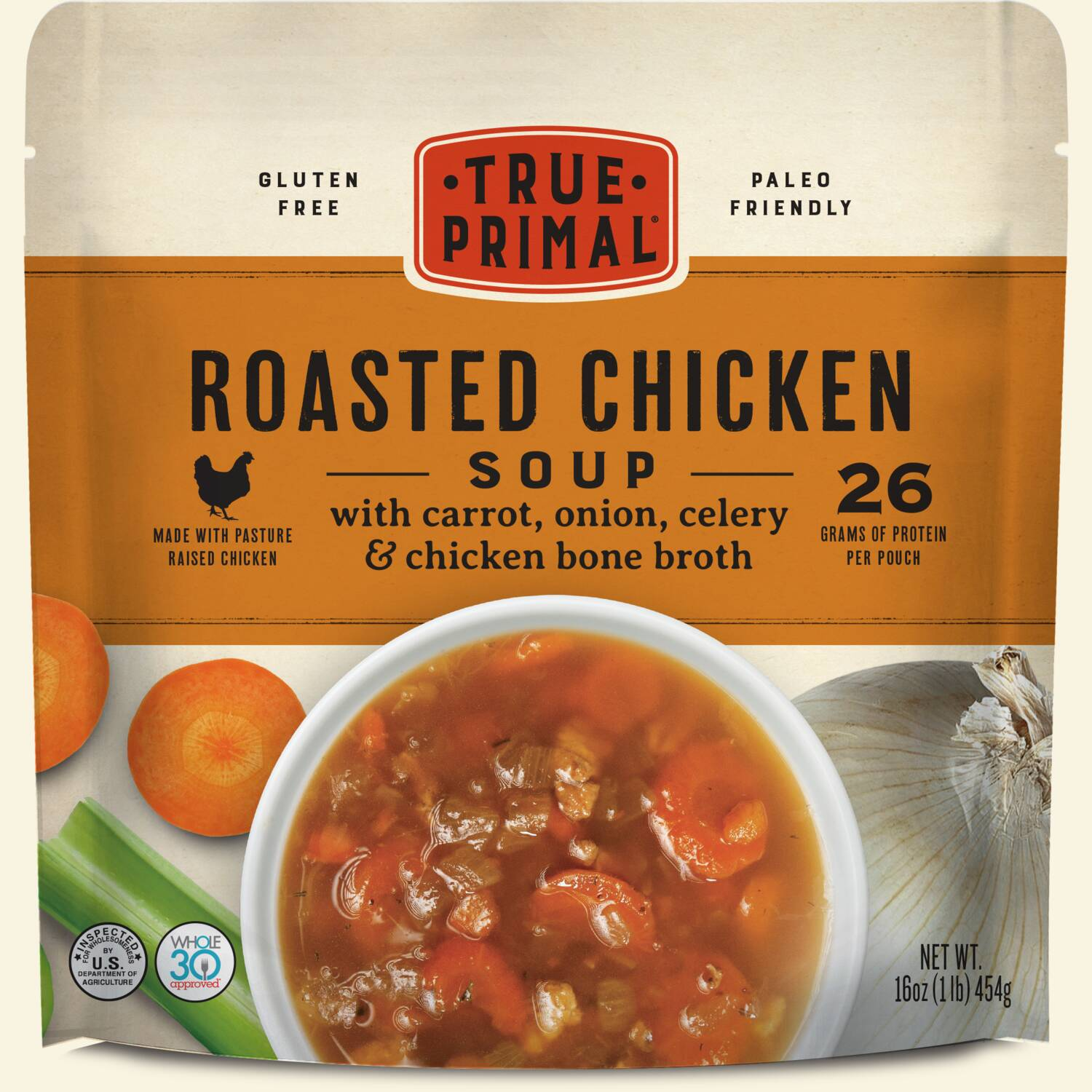 True Primal Roasted Chicken Soup in pouch, front