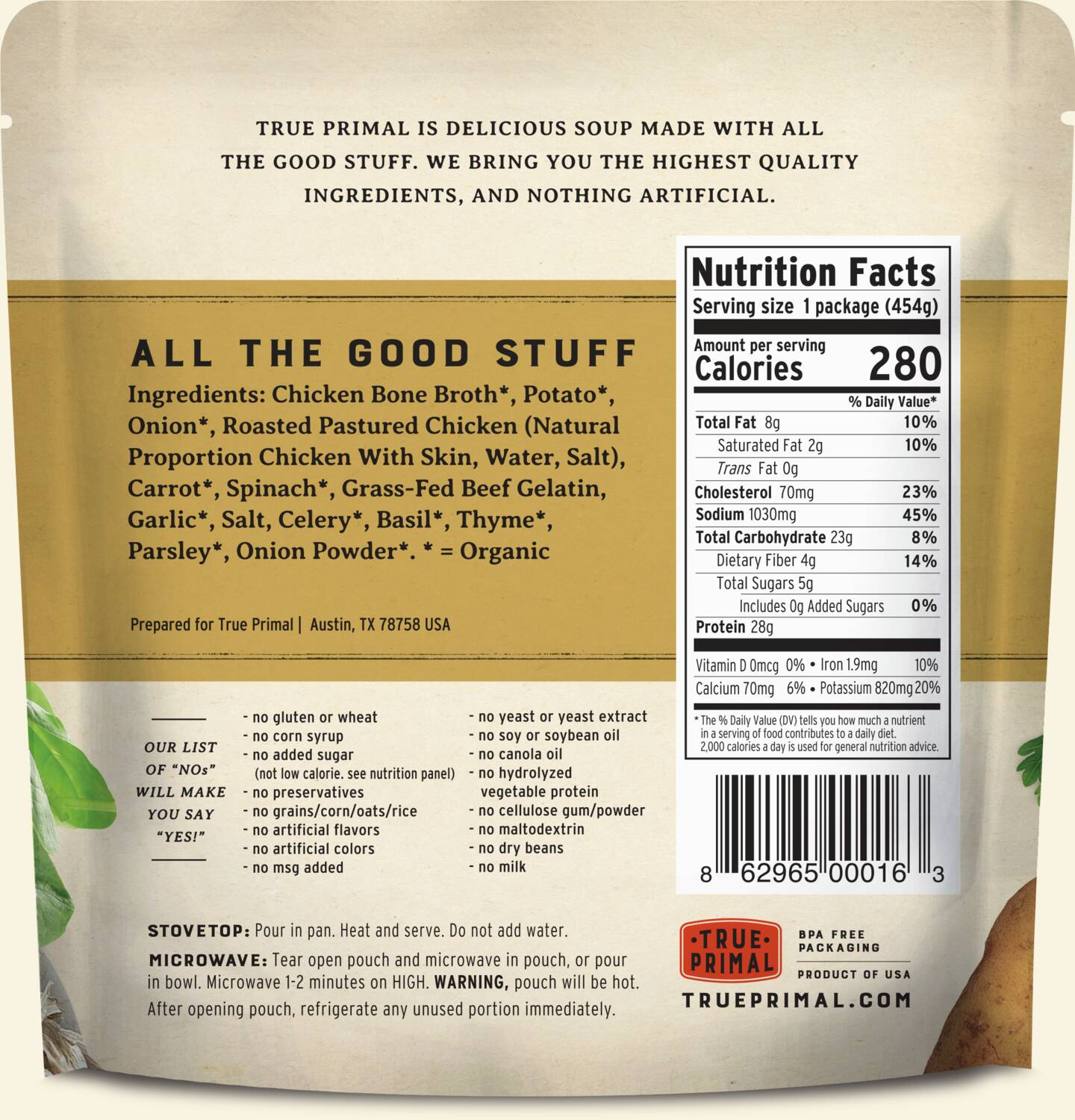 True Primal Tuscan-Style Chicken Soup in pouch, back of label. UPC: 862965000163.