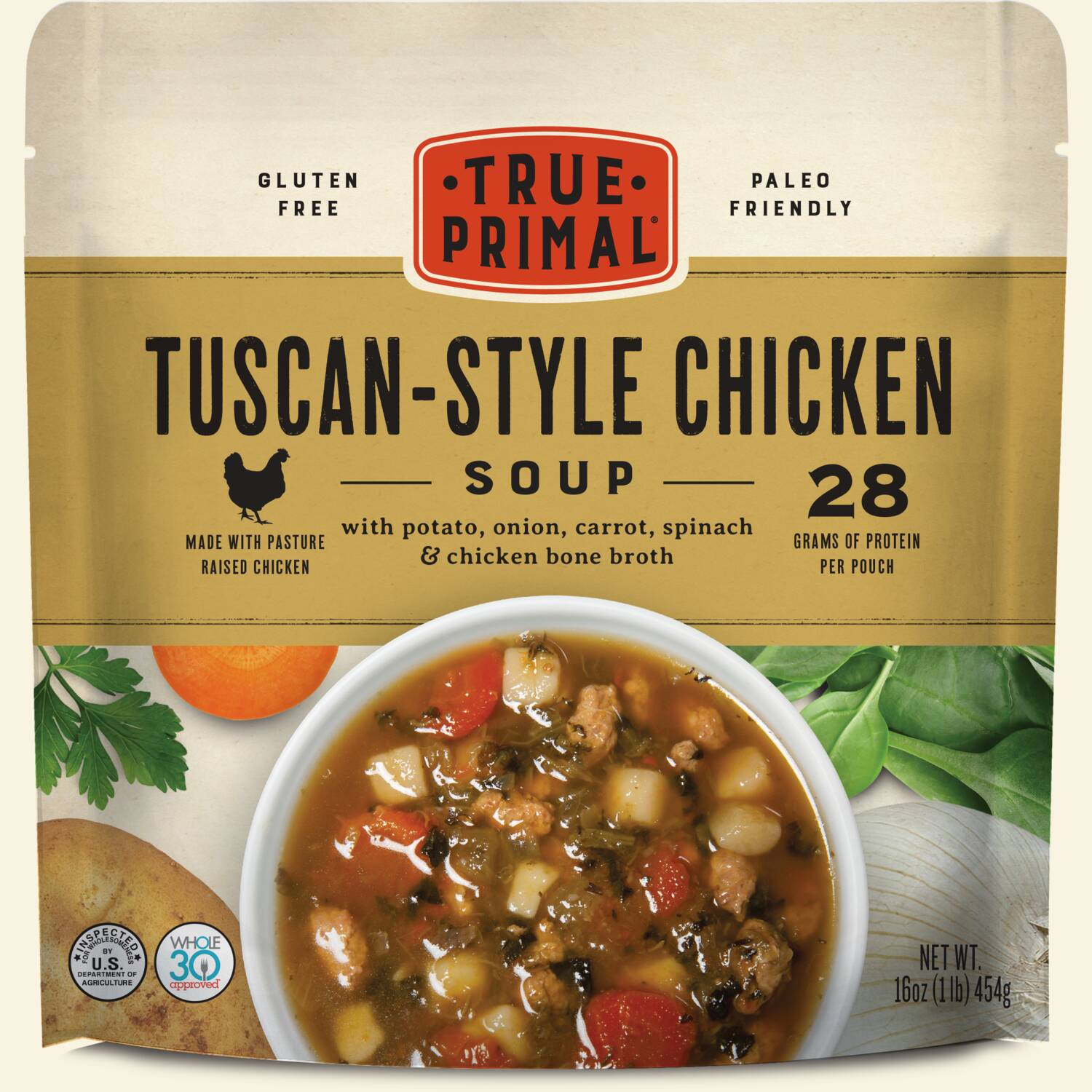 True Primal Tuscan-Style Chicken Soup in pouch, front